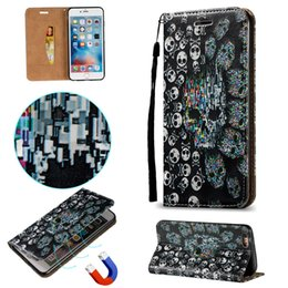 iphone 3d skull case NZ - Case For iPhone 5S 5G 5SE 6S 6G 4.7 6 7 8 Plus Skull Shell 3D Magnetic Closure Skin PU Leather Stand Wallet with Card Slots Rope Cover