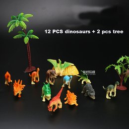 world tv NZ - kid toys world Dinosaurs model set 14 pieces cute plastic static animals decoration gifts toys kids Mini colors small Jurassic 14pcs