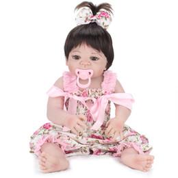 Kids Silicone Baby Canada - Fully Silicone Reborn Baby Doll Vinyl New Born Lifelike Realistic Girl Babies dolls Princess Kids Toy bebe gift boneca