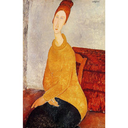 Chinese  Modern woman paintings Yellow Sweater Amedeo Modigliani Reproduction Canvas art hand-painted home decor manufacturers