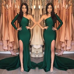 Barato Vestido Verde Escuro De Manga-Dark Green Mermaid Prom Dresses 2017 Sexy High Split vestidos de noite de manga longa Cheap One Shoulder Prom Dress Vestidos formais formações