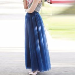 $enCountryForm.capitalKeyWord Canada - Modest High Quality Royal Blue Long Tulle Skirts For Graceful Lady Elastic belt Style Tutu Skirt For Women Floor Length