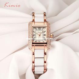 $enCountryForm.capitalKeyWord NZ - KIMIO Retro Roman Rectangle Rhinestone Simulation Ceramic Bracelet Ladies Watches Top Brand Luxury Rose Gold Womens Watches Sale