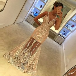 Barato Trompete Applique-Frete rápido Mermaid Prom Dress Scoop Neck Sleeveless Sheer Skirt With White Appliques Tulle Trumpet Long Evening Party Dress