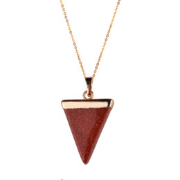 coin links UK - HOT Geometric Colorful Nature Stone Necklace Triangle Crystal Necklaces Pendant For Valentine's day Women And Men Wholesale