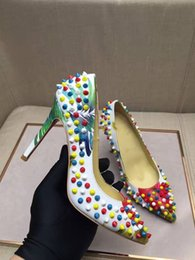 Stud Spikes Rivets Canada - Top quality Fashion Brands New women stud Colorful Spikes Sexy Stiletto High Heels Dress shoes genuine leather party pointed toe rivet pumps