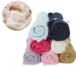 crochet blankets for babies UK - Soft Blanket & Swaddling For Baby 100 x 80cm Pure Color Soft Cotton Crochet Newborn Babies Blanket for Summer