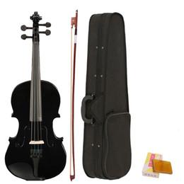 Venta al por mayor de violín acústico al por mayor del violín del tamaño 4/4 al por mayor negro con la resina del arco del caso