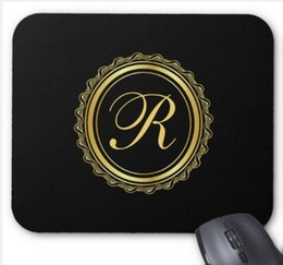 rubber supplies NZ - Rectangular non-slip natural rubber mouse mat elegant gold and black medallion monogram computer accessories office supplies mouse pad