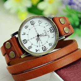 $enCountryForm.capitalKeyWord Canada - Watches for Women New Fashion Creative Vintage Long Strap Leather Watch Two Numeral time Wrap men Quartz Wristwatch