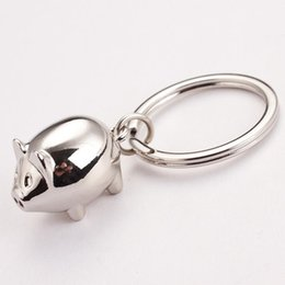 Cute Pig Pendant Canada - cute mini pig keychains metal alloy animal silver pendants key ring for bags