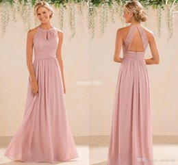 Barato Blush Casamento Damas De Honra-Blush 2017 barato A Line Lace Chiffon vestidos de dama de honra A Line High Neck Backless Long Summer Beach Garden Wedding Guest Evening Party Gowns