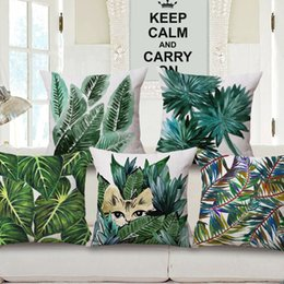 $enCountryForm.capitalKeyWord NZ - Tropical Plants Cushion Cover Watercolor Painting Green Leaves Cat Flamingo Bird Cushion Covers Sofa Decorative Linen Cotton Pillow Case