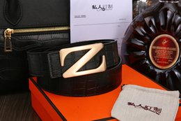 Z Buckle Leather Belt NZ - 2018 with box Z big buckle fashion men and women belts High quality belts designer genuine leather belt for men women belts