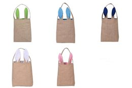 $enCountryForm.capitalKeyWord Canada - DHL shipping NEW design Cotton Linen Canvas Easter Egg Bag Rabbit Bunny Ear Shopping Tote bags kids children Jute Cloth gift Bags handbag