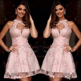 Barato Vestido De Cocktail Cor-de-rosa Modesto-Modest Blush Pink Cocktail Dresses 2017 Appliqued Tulle A-Line Mini Homecoming Vestido Dressing para meninas Custom Made