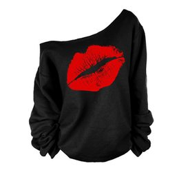 Chinese  2017 Plus Size Women Sweatshirts Sexy Red Big Lips Printed Off Shoulder Long-Sleeved Edge Pullovers Hoodies Sudaderas new manufacturers