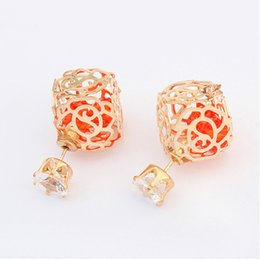 Cheap Flower Crowns UK - Fashion Women Double Side Earrings Gold Plated Hollow Our Carved Square Earrings Crown Crystal Stud Earrings Cheap Jewelry