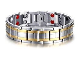 $enCountryForm.capitalKeyWord NZ - Gold-color Stainless Steel Bracelet for Men Germanium Chain Link Double Row Magnetic Titanium Bracelet for Men Jewelry B817S