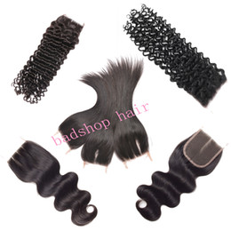 Wholesale Brazilian Body Wave Lace Closure 4x4 Straight Lace Closure Body Wave Brazilian Peruvian Virgin Human Hair Weaves Closure With Baby Hair
