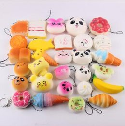 Wholesale 5 cm Mini Simulation Toys Squishy Soft Bread Squishy Soft Panda Bread Cake Phone Straps Charms Slow Rising Phone Pendent CCA7157