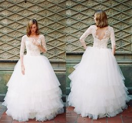 $enCountryForm.capitalKeyWord Canada - Modest Pearls Top Country Wedding Dresses Half Sleeve Open Back Tull Ball Gown Skirt Vintage Beach Bridal Gowns Scoop
