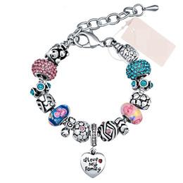 78a70646e Fashion Cute Pink Charm Bracelet DIY Heart Pendant Crystal Glass Beads  Charm Bracelet & Bangle For Women