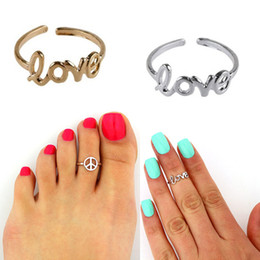 Pied De Fête En Gros Pas Cher-Cute LOVE Rings Peace Sign Toe Ring Taille gratuite Silver Gold Plated Foot Jewelry Party Gifts Wholesale 2017 Hot New