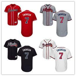 ... Discount best atlanta Grey White Blue Red Kids 7 Dansby Swanson Best  Baseball Jerseys Cheap Boys ... fc73a0cb48bf