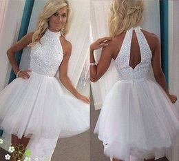 Vestido Formal Blanco Junior Baratos-Vestidos de cristal blanco homecoming Halter cuello sin mangas Tull corto Prom Dresses vestido formal junior por encargo