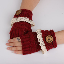 $enCountryForm.capitalKeyWord Australia - Wholesale- 2016 Fashion Short Section For Women Gloves Winter Outdoor Warm Mittens Girl Cute Lace Buttons Half-Finger Girls Gloves Mittens