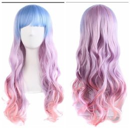 purple hair lolita cosplay 2018 - 100% New High Quality Fashion Picture full lace wigs Women Long Cosplay Party Wig Wavy Purple Pink Mixed Lolita Hair Ful