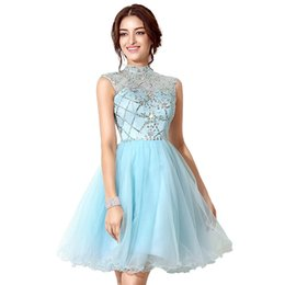 Robe De Bal Pas Cher-Sparkling 2017 Blue Blue Beaded Homecoming Robes avec Illusion High Neckline Hollow Back Short Strass Prom Dress Cheap In Stock