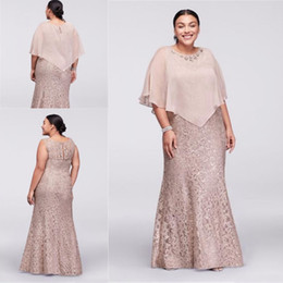 Barato Laço Para Vestidos De Noivas-2017 Mãe Off Bride Dresses Jewel Neck Champagne Full Lace Com Cabo Wrap Beaded Andar Comprimento Sereia Plus Size Wedding Guest Dresses