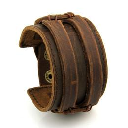 50541a8b51c0 Brazalete de cuero doble ancho pulsera y brazaletes de cuerda marrón para hombre  Moda hombre pulsera unisex joyería PI0296