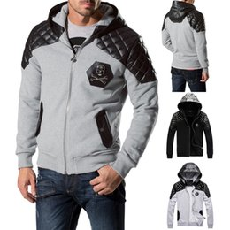 Barato Hoodie Longo-Brand Design Homens Ombro Couro Patchwork Hat Camisola Jumper Metal Crânios Patches Sweat Pullover Long Sleeve Hood Hood Homem