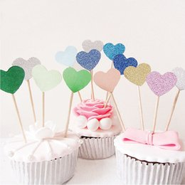 BaBy Blue wedding cakes online shopping - 5pcs Heart Cake Topper Supplies Baby Shower Decorations Wedding Party Gold Love Flag Birthday Party Decorations Kids Cake Decoration