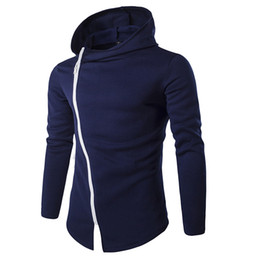 Sweat À Capuche Oblique Pas Cher-Gros-2016 Casual Hoodies Hommes Novel Sweat Oblique Zipper Coton Slim Sportswear Survêtement Mens Hoodies Sweatshirts M-XXL ZW119