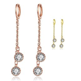$enCountryForm.capitalKeyWord UK - Women Long Earrings Fashion 18K Yellow Rose Gold Hanging Double Disco Ball Inlaid Cubic Zirconia Dangles Earring Jewelry for Lady Girl Gifts