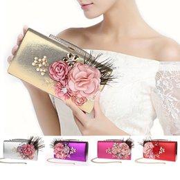 chain for handbag strap 2019 - Fashion Elegant Peony Flower Pearl Rhinestone Feather Clutch Banquet Bag Purse Wedding Bridal Handbag Chain strap 7 colo