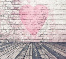 Discount photography background hearts - 5x7ft Vintage Wood Floor Brick Wall Backdrop Vinyl Pink Color Heart Shape Romantic Wedding Valantine's Day Photogra