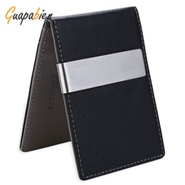 China Wholesale- Guapabien 2016 Business Boyfriend Gift Leather Money Clip Clutch Men Wallet Billfold Short Purses carteira Slim Money Card Bag supplier money clip business card holder suppliers