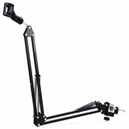 microphone suspension UK - New Professional Metal Suspension Scissor Arm Adjustable Microphone Stand Holder For Mounting On PC Laptop Notebook