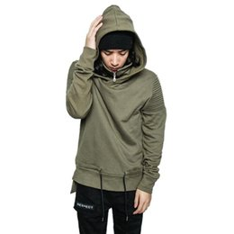 biker hoodie NZ - Fashion Hi-Street Men Hip Hop Hoodies With Hood Streetwear Pleated Biker Sweatshirt Drawstring Side Split Motorcycle Hoody