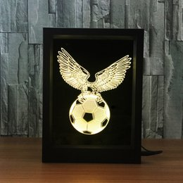 free christmas photo frames UK - 3D Football Eagle LED Photo Frame IR Remote 7 RGB Lights Battery or DC 5V Factory Wholesale Dropship Free Shipping