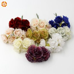 Decorative reD wreath online shopping - DIY Silk Artificial Flowers Bouquet For Home Wedding Party Scrapbooking Decorative Wreath Fake Flowers Colors