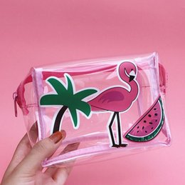 transparent jelly case 2019 - Flamingo Transparent Jelly Cosmetic Bag Small Cellphone Travel Makeup Bag Women Cosmetics Case Storage Toiletry Travel O