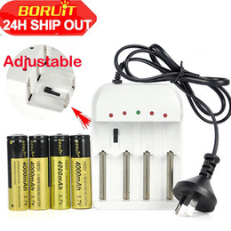 4 X BORUiT 18650 3.7V 4000mAh Rechargeable Li-ion Battery+US EU AU Plug i4 Charger For headlamp Flashlight Torch
