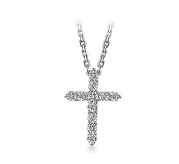 $enCountryForm.capitalKeyWord UK - 925 Sterling Silver Christian Cross Necklace Zircon Charms Pendant Necklace for Beautiful Women,15.74inch,17.71inch 19.68inch Chain