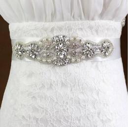 rhinestone cheap wedding belt 2019 - Fashionable Bridal Sashes and Belts Wedding Dress Sash for Wedding Beaded Rhinestone Crystal Wedding Belt Cheap In Stock